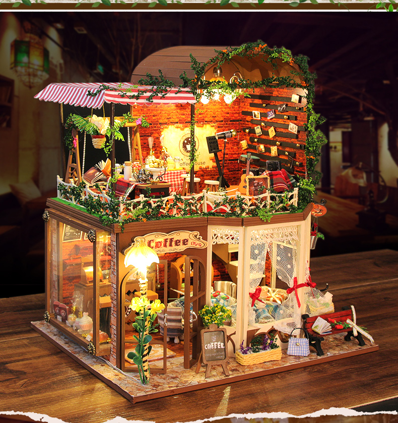 Wooden diy doll house with furniture handmade miniature - Led para casa ...