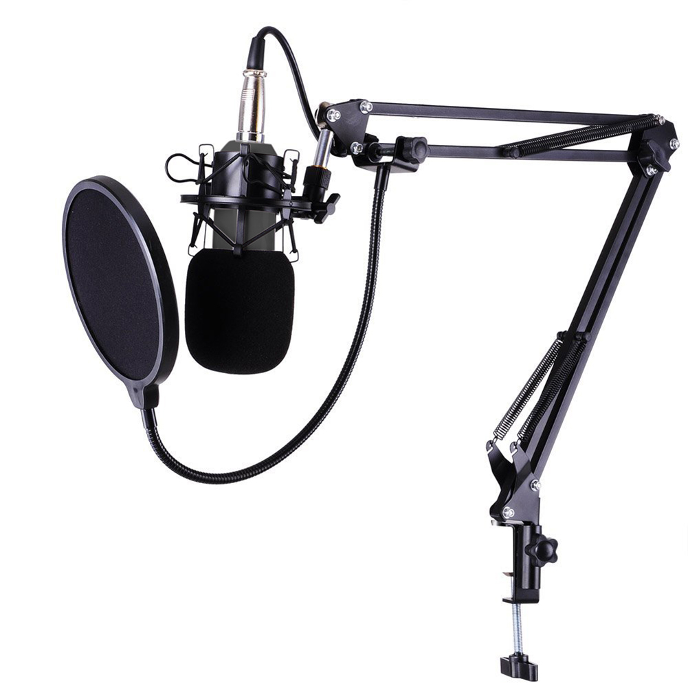 Noir Profession Studio de Radiodiffusion Enregistrement Microphone À Condensateur pour Vivre Streamin En Ligne Chant Chat Enregistrement Sonore