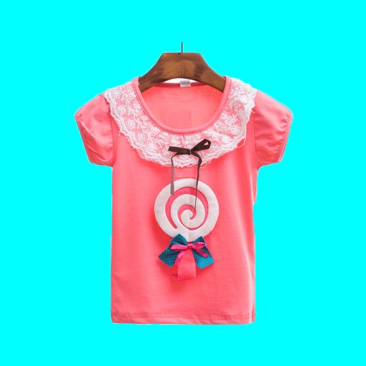 2016 Summer Girls Tees Designer Children Printing Clothes T Shirt Toddler Girl Soft Shirts Lace Cotton