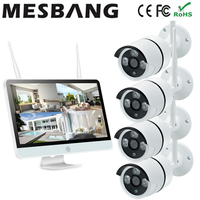 720P wifi IP camera system 4ch CCTV NVR kits with 15inch monitor wireless CCTV security camera system kits wifi IP camera system