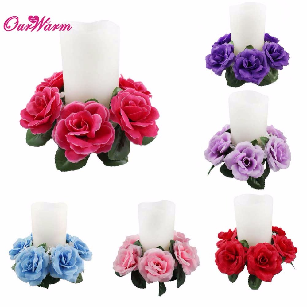 large floral candle rings wedding silk roses flowers unity candle party home vase decoration