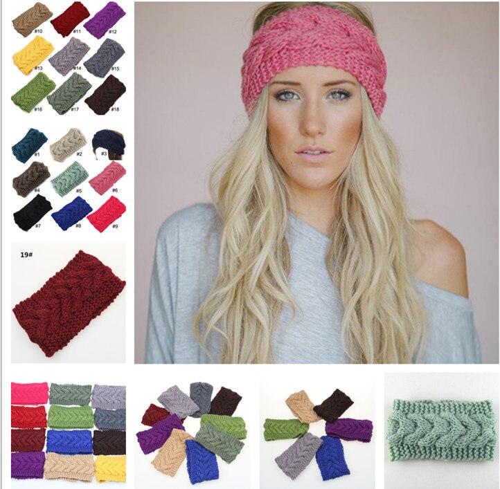 ᗔ2015 nuevo 19 colores mujeres Twist crochet Head WRAP Bandas para ...