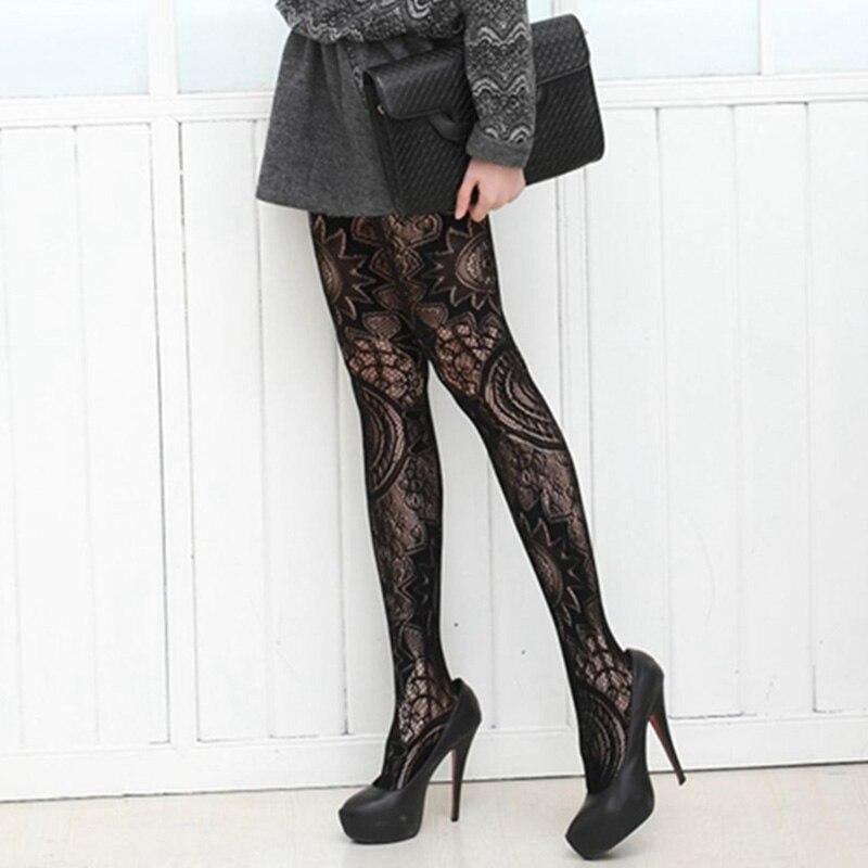 2018 Fashion Mesh Lace Vertical Strips vintage Totem Pantyhose Sexy Women Thin Section Bottoming Stockings Pantyhose Stockings
