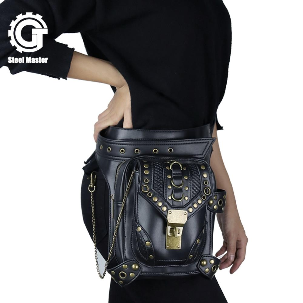 2018 Steampunk джобове Ретро рок готик чанта за крака Мъжки и дамски кожени чанти от метална верига