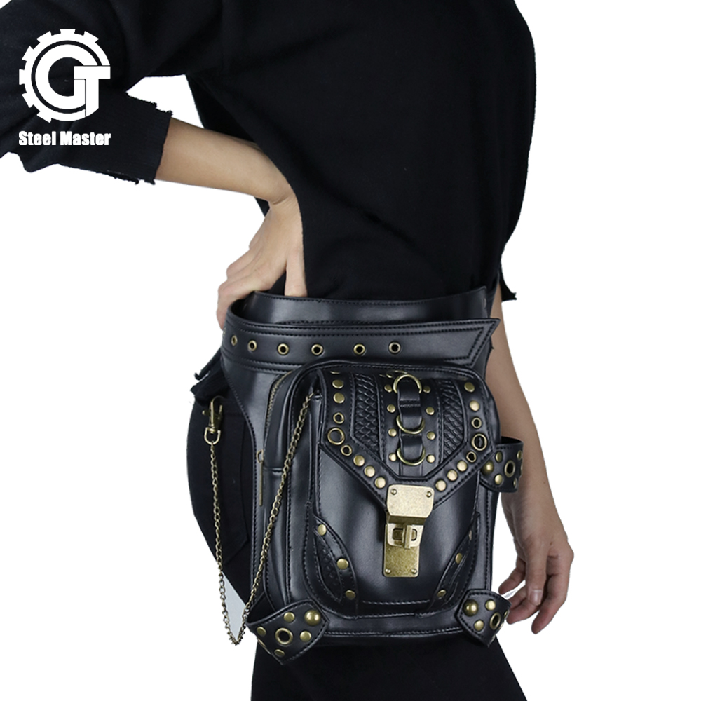Steampunk Waist Shoulder Bags Women Men PU Leather Black Shoulder Bags Retro Leg Bags