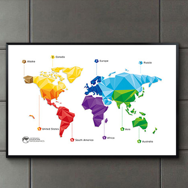 Haochu modern rainbow coral world map decorative painting minimalist haochu modern rainbow coral world map decorative painting minimalist art canvas wall picture office living room gumiabroncs Gallery