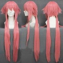 Peruca de fantasia yuno gasai, peruca longa rosa reta para meninas, de trilha, resistente ao calor 80cm + touca