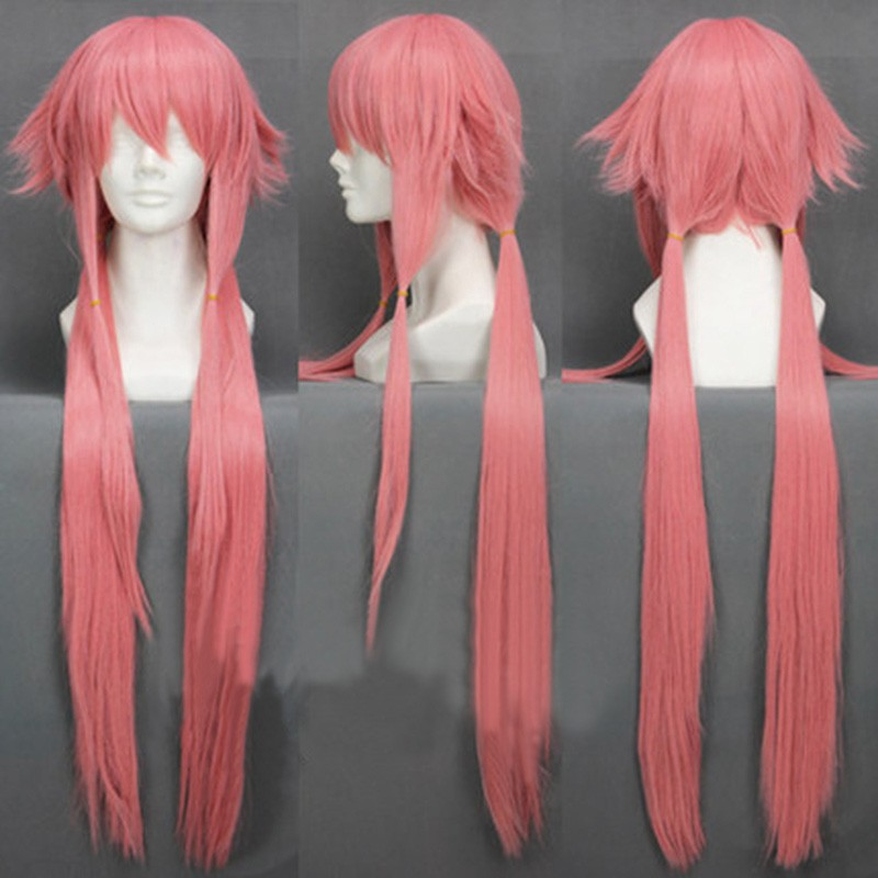 The Future Diary Yuno Gasai 80cm Long Pink Straight Women's Girl Heat Resistant Cosplay Costume Wig + Track + Cap