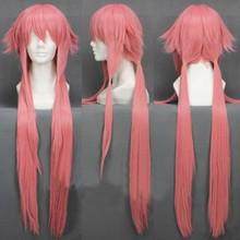 """יומן העתיד Yuno Gasai 80 ס""""מ ארוך ורוד ישר נשים של ילדה חום עמיד קוספליי תלבושות פאה + מסלול + כובע"""