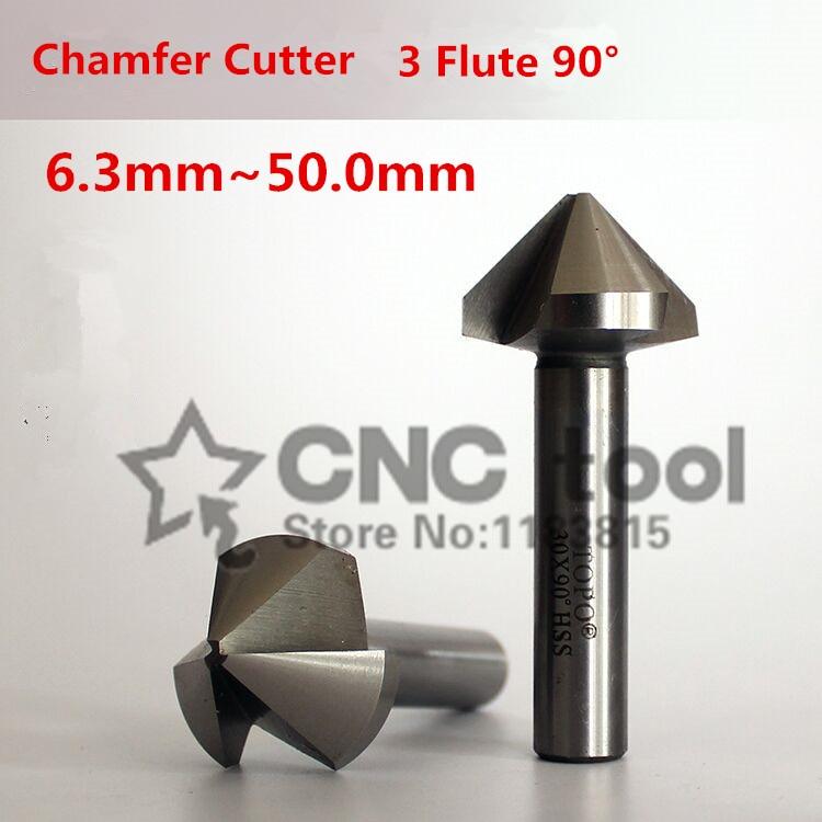 90 Degree 3 Flute HSS Chamfer Chamfering End Mill Cutter Bit V Groove