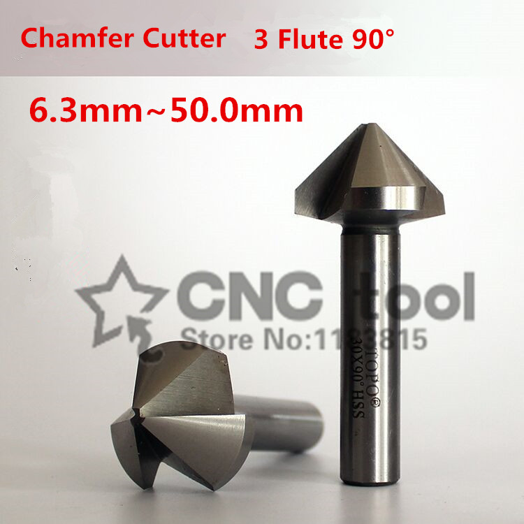 Free Shipping 1PCS 6.3mm-50mm 90 Degree 3 Flute HSS Chamfer Chamfering End Mill Cutter Bit (6.3/8.3/10.4/16.5/20.5/25/30/35mm)