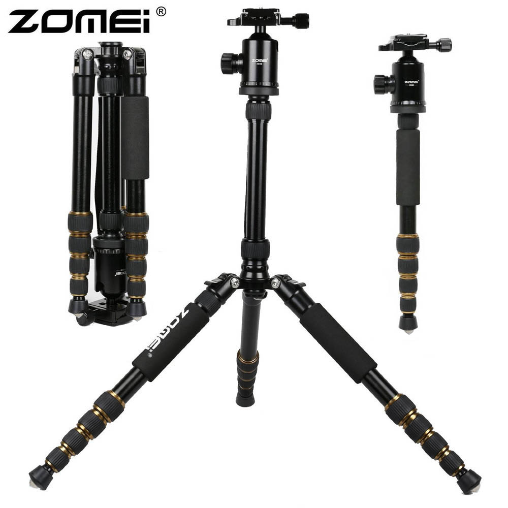 ZOMEI Z699 Aluminum Professional DSLR Tripod Ball Head Travel Compact Reflexed Tripod to Monopod for Canon Nikon Sony SLR Camera 2015 new upgrade q999s professional photography portable aluminum ball head tripod to monopod for canon nikon sony dslr camera