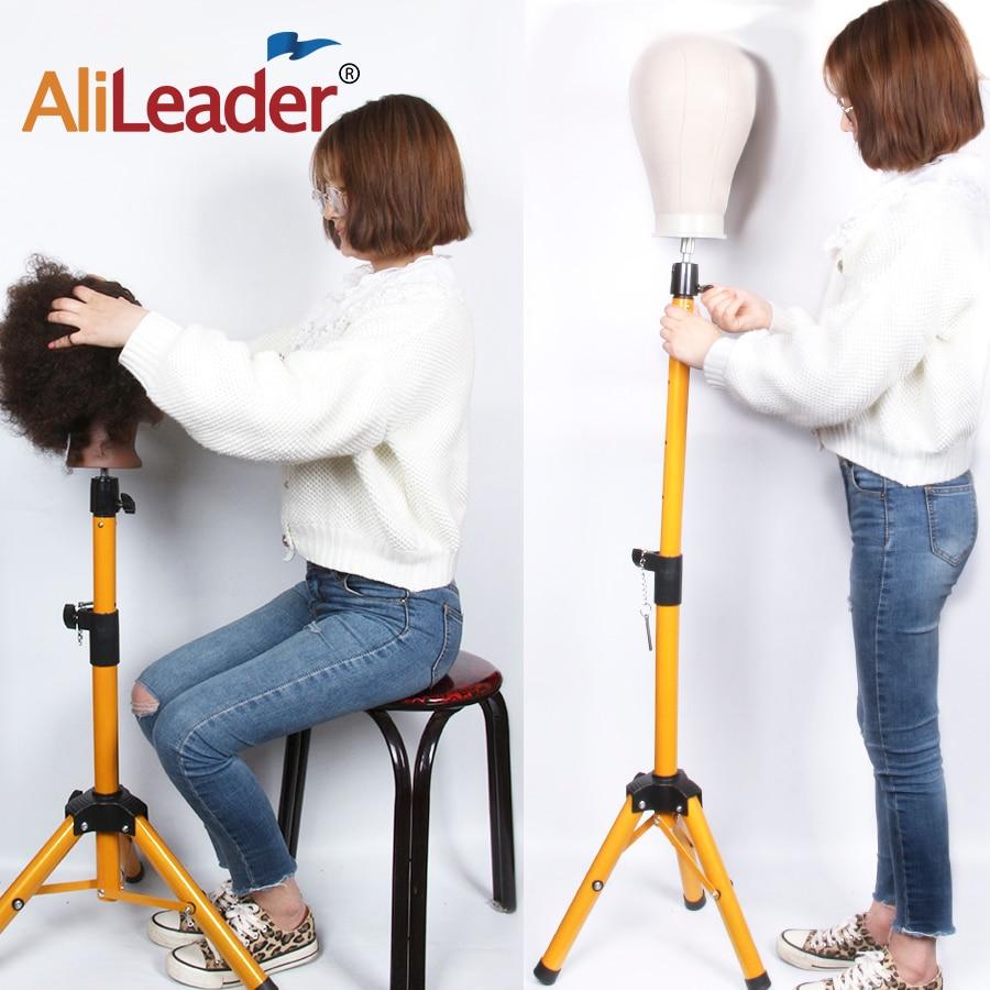 AliLeader Golden Color Aluminum Alloy Mannequin Training Wig Head Holder Tripod Adjustable Tripod Wig Stands Holder Clamp
