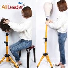AliLeader Golden Color Aluminum Alloy Mannequin Training wig Head holder Tripod Adjustable Wig Stands Holder Clamp