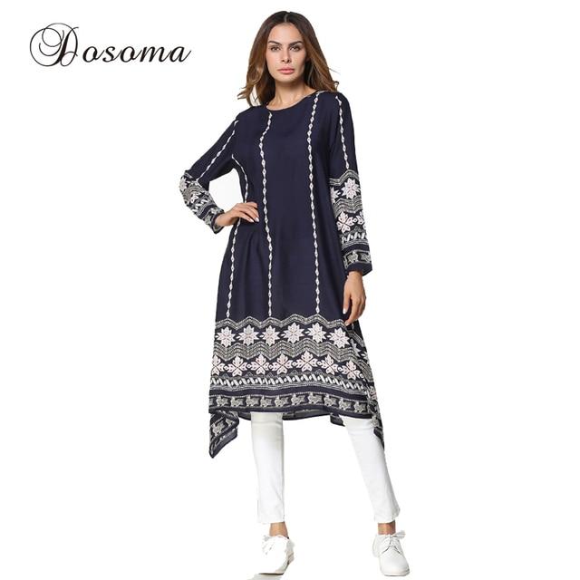 2099e2905b9 Women's Shirt Dress Print Muslim Women's Tops Middle East Long Robe Gowns  Basic Tunics slim fit T Ramadan Arab Islamic Clothing