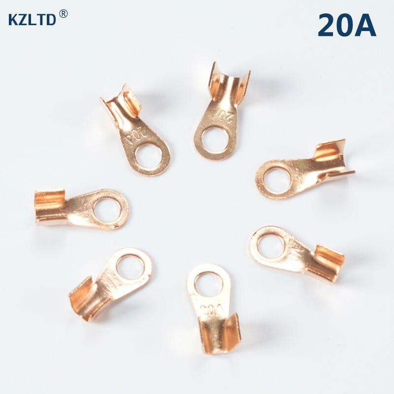 50 шт./лот 20A наконечник кабельный разъем 6.2 мм кольцо для M6 Стад открыть медные батареи разъемы кабельные наконечники OT-20A
