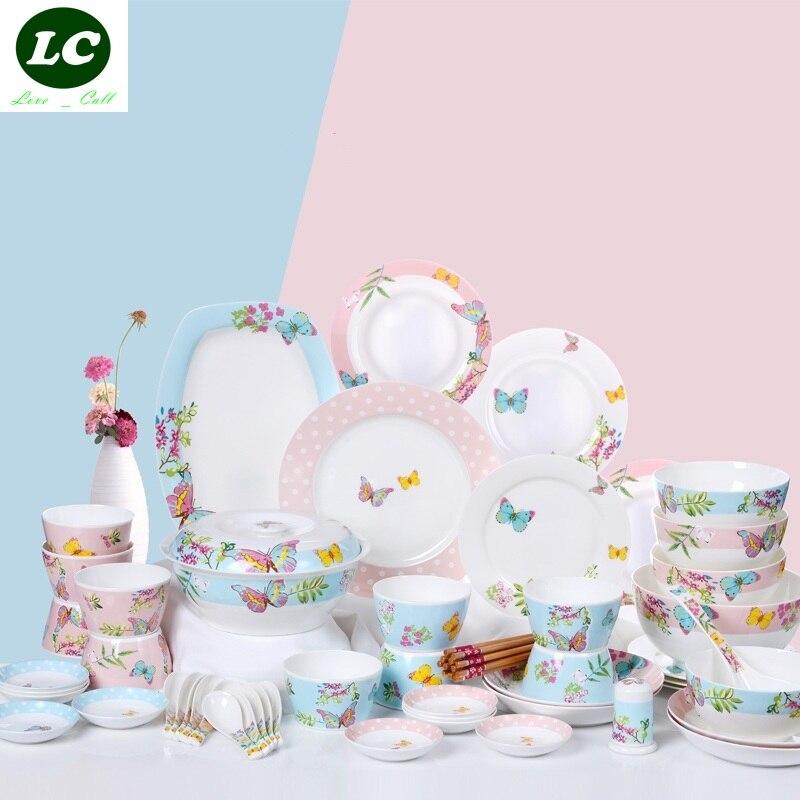 free shipping dinnerware set combination 56pcs plates bowls casserole dishes tableware set  ceram kitchen utensil gift