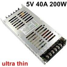 Ультратонкий импульсный источник питания 5 В 40А 200 Вт толщиной 3 см, ультратонкий Светодиодный драйвер переменного тока 220 В, вход в постоянный ток 5 В, светодиодный светильник