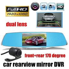 Best Buy 4.3 Inch Rearview Mirror Car DVR Camera Rearview Mirror Auto dvrs dual lens dash full HD 1080P night vision free shipping