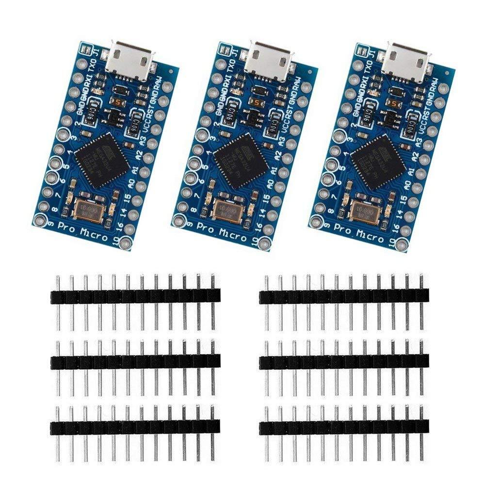 3pcs Pro Micro ATmega32U4 5V/16MHz Development Board With 3 Row Pin Header For Arduino Leonardo Replace ATmega328 Pro Mini
