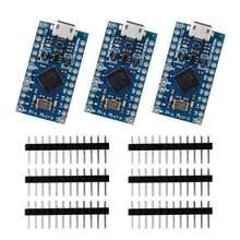 3 pces pro micro atmega32u4 5v/16mhz placa de desenvolvimento com 3 linha de cabeçalho pino para arduino leonardo substituir atmega328 pro mini
