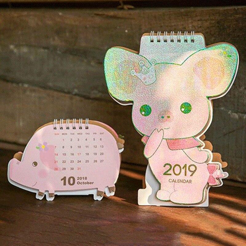 Calendars, Planners & Cards 2019 Cute Unicorn Flamingo Pig Laser Mini Table Desktop Calendar Agenda Organizer Daily Schedule Planner 2018.10~2019.12 Relieving Rheumatism