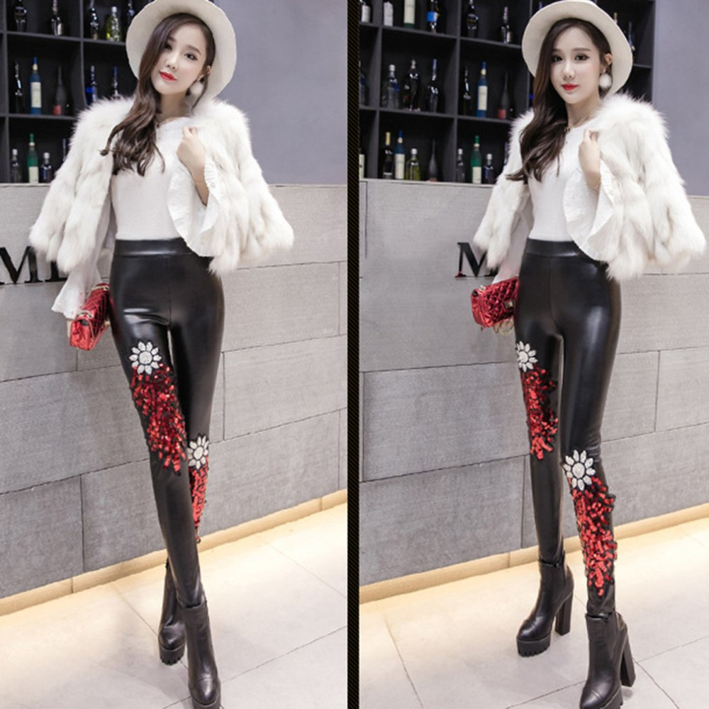 882ab0a2 Black Punk Gothic Women PU Leather Pants Stitching Embroidery Sequin Ladies  High Waist High Elastic Skinny PU Trousers Leggings-in Pants & Capris from  ...