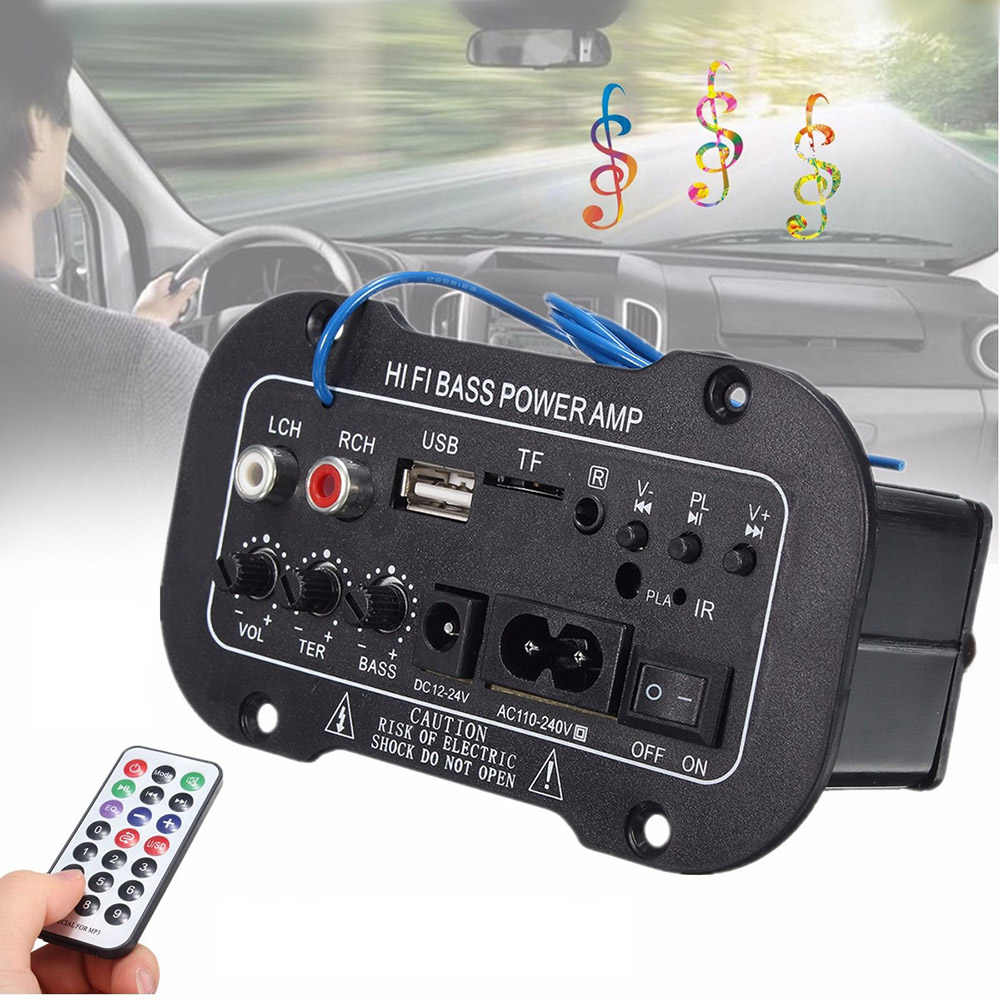 220V Auto radio Bluetooth 2.1 Hi-Fi Bass AMPLIFICATORE di Potenza Mini Amplificatore Auto auto Radio Audio Amplificatore Digitale USB TF a distanza di Controllo