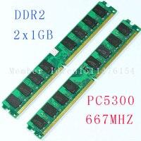 NEW 2X1GB 1GB PC2 5300 DDR2 667 667Mhz 240pin DIMM Dekstop Memory DDR2 Low Density RAM