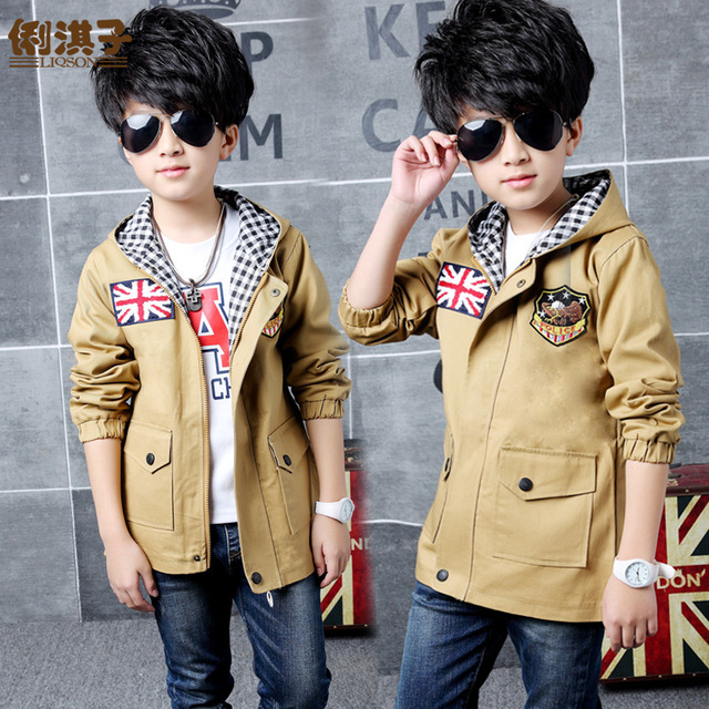 Spring Autumn Boys Girls Trench Coats Jackets hooded Trend Stylecoats for Girl Kid clothes Long Sleeve Children outwear YL436