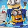 Бесплатная доставка Детей мультфильм Коралловый флис одеяла на кровати, Миньоны постельное белье, крышка бросок, Покрывало