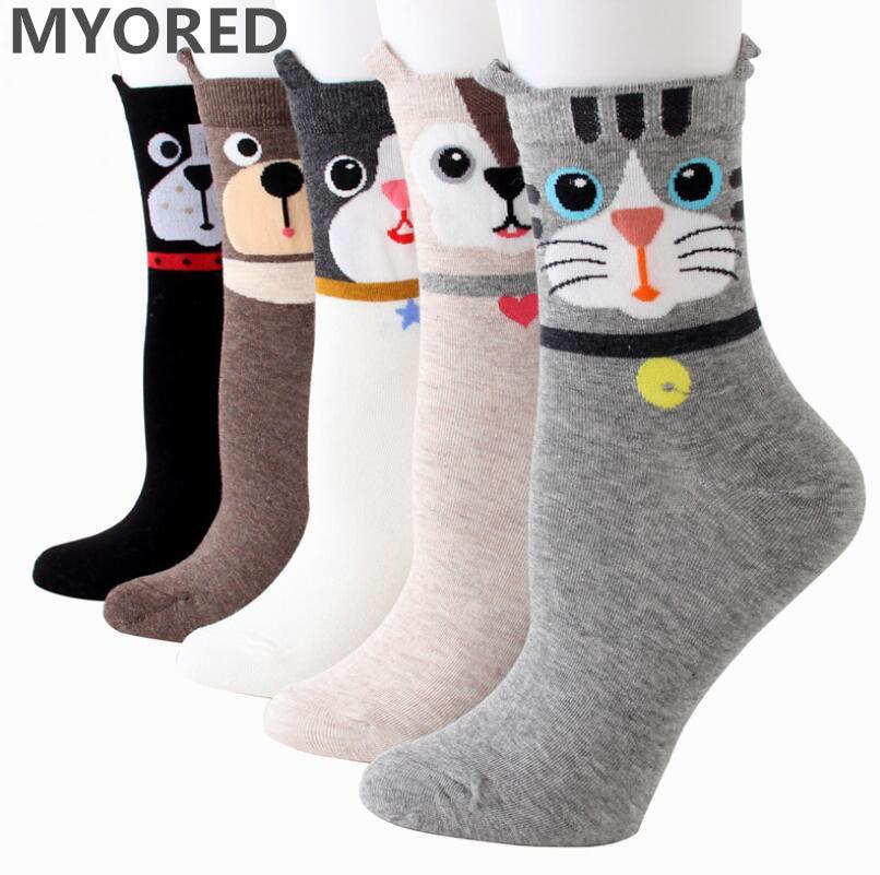 MYORED kartun kaus kaki hewan, Wanita katun tabung pendek pergelangan kaki kucing kucing anjing bergaris kaus kaki musim panas untuk anak perempuan, Gaun kasual 5 pair / Lot