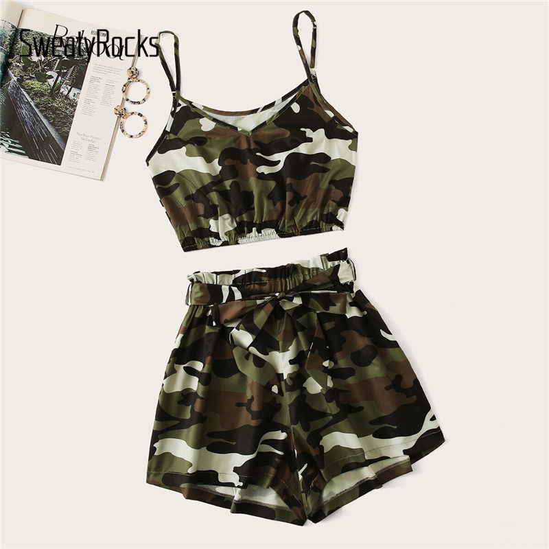 SweatyRocks Camouflage Print Crop Cami Top With Belted Shorts Set Women 2019 Summer Casual Two Piece Set Active Wear 2 Piece Set