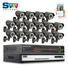 16CH HDMI NVR 24CH PoE коммутатор видеонаблюдения Системы 6 ТБ HDD 1080 P HD Onvif H.264 с переменным фокусным расстоянием 2.8- 12 мм 78IR Открытый poe ip-камеры