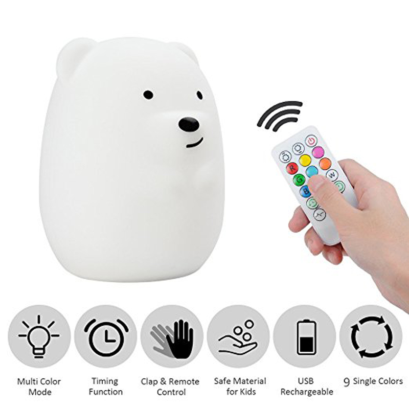 Baby LED Night Light, Remote Control + Sensor Tap Control, 9 Colors and 4 Modes, USB Rechargeable, Silicone Nursery Lamp -BearBaby LED Night Light, Remote Control + Sensor Tap Control, 9 Colors and 4 Modes, USB Rechargeable, Silicone Nursery Lamp -Bear