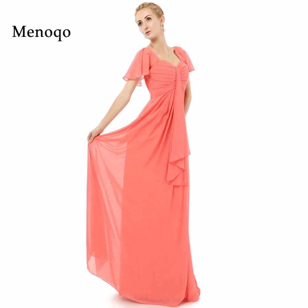 New Fashion Short Sleeves A line Chiffon Evening Dress Long Real Photo Custom made Elegant Mother