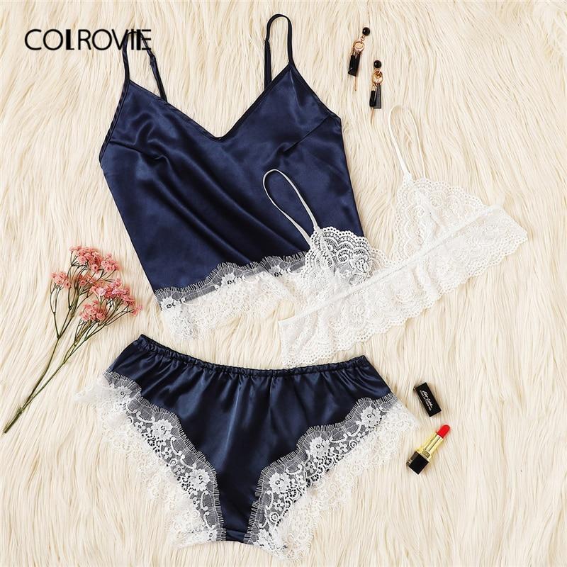COLROVIE Navy Lace Trim Satin Cami Top Bralette Panties   Pajama     Set   Women 2019 Fashion   Pajamas   Lounge Sleepwear Sexy Nightwear