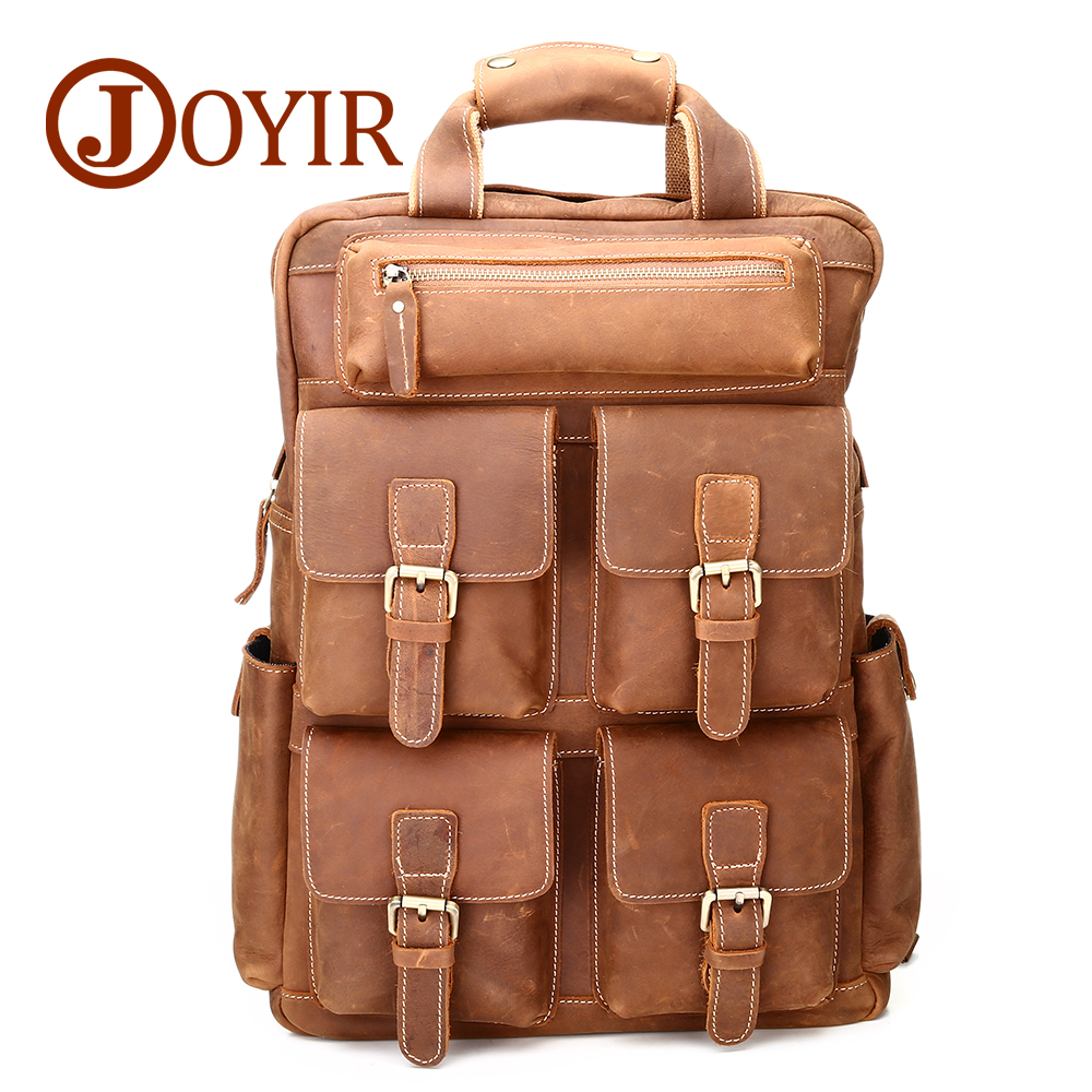 JOYIR Travel Men Genuine Leather Backpack High Capacity Crazy Horse Vintage Daypack Multi Pocket Casual Rucksack