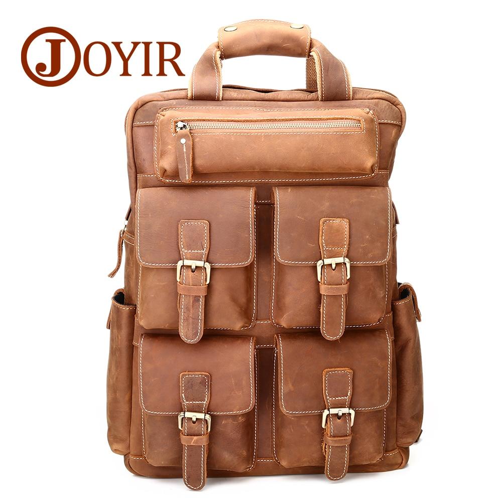 JOYIR voyage hommes en cuir véritable sac à dos haute capacité Crazy Horse Vintage sac à dos Multi poche sac à dos décontracté pour hommes