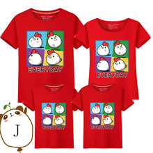Parent-child T-shirts Lovely Cartoon Chicken Shirt Lovers Family T-shirt Women Summer from Casual Tops Kid clothes 20LD10389