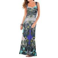Womens Summer Maxi Dresses New Arrival Ladies Boho Dress Sleeveless Blue V Neck Floral Print Vintage
