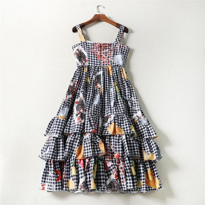 american princess brand dresses summer new arrival fashioin poker fruit star print spaghetti strap layer cake flare dress plaid