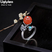 Uglyless 100% Real Solid 925 Sterling Silver Frog Rings Women Thai Silver Flower Open Ring Agate Lotus Fine Jewelry Turquoise