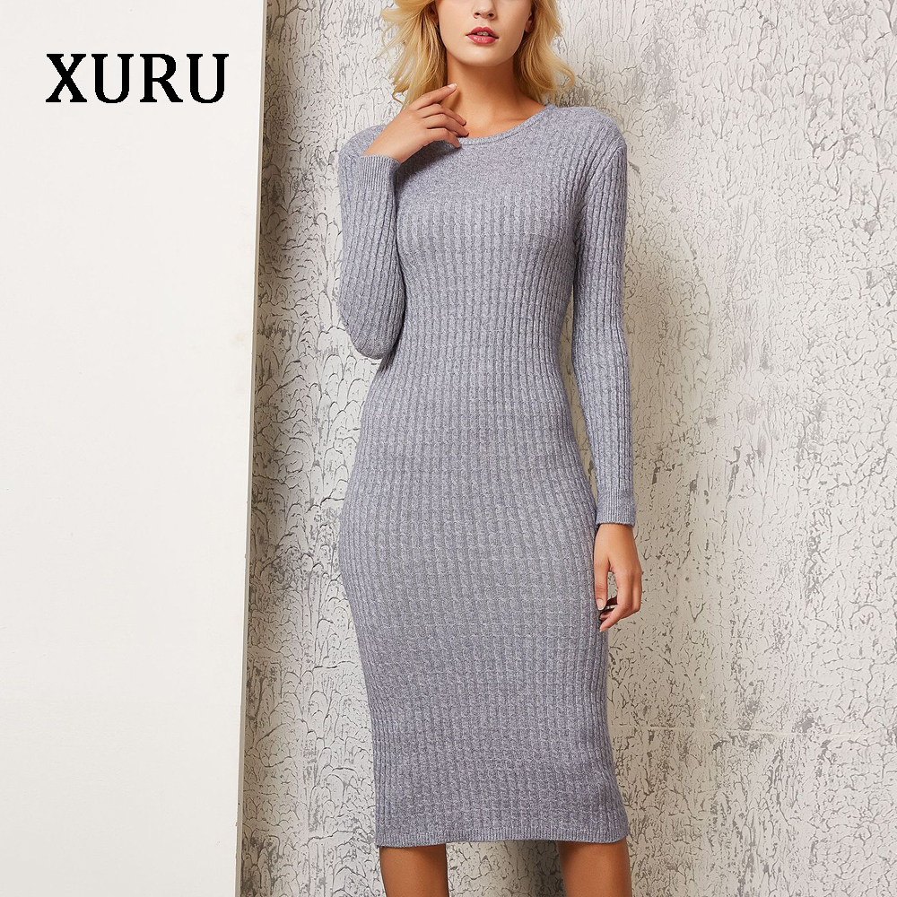 XURU Knitted Sweater Dress Women Black Pink Blue Bodycon Dresses Office Lady Work Casual Pencil Dress Autumn Winter Long Sleeve