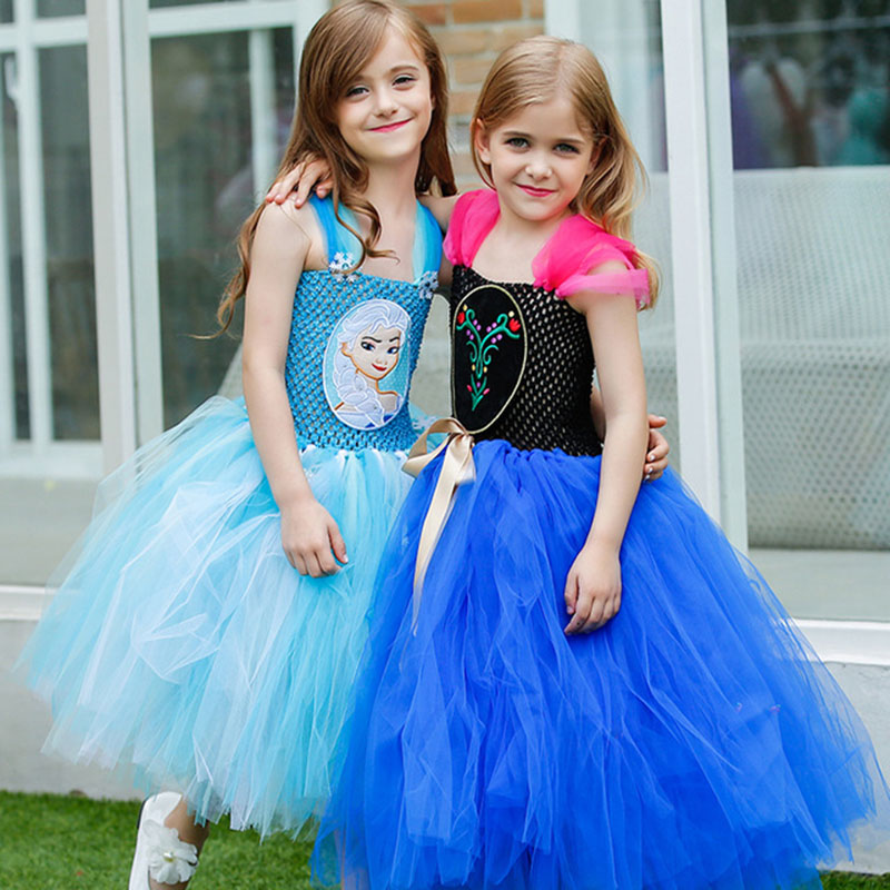 Girls Princess Elsa Anna Froze Dress Costume Vestidos Children Kids Party Cosplay Tutu Dresse Girls Evening Dress with Snowflake newest girls princess tutu dress cosplay elsa dress christmas halloween costume for kids performance birthday dresses vestidos