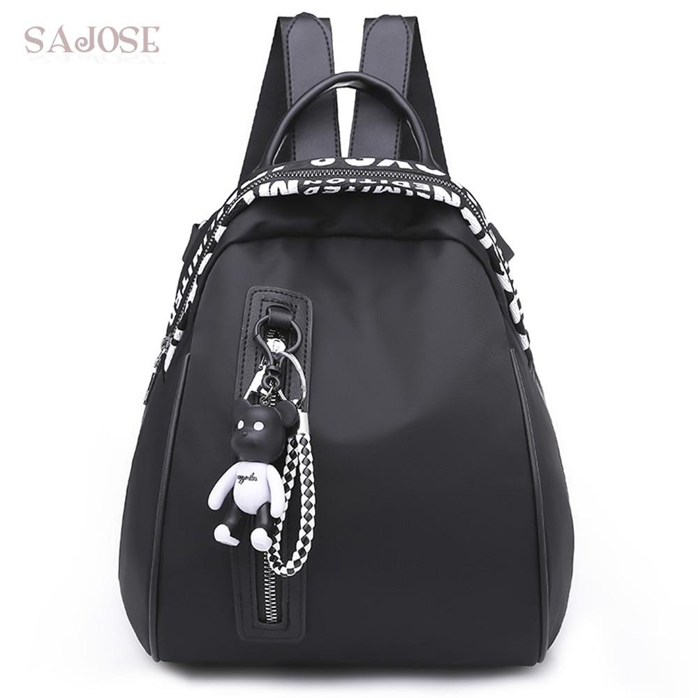 School Backpacks For Teenage Girls Women Casual Nylon Backpack Female Fashion Designer Letter Bear Shoulder Bag Drop Shipping