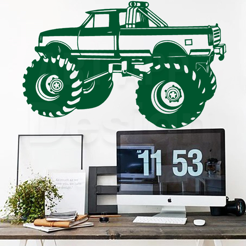 Monster Truck Wall Stickers Part - 32: Aliexpress.com : Buy Art Design Home Decoration Vinyl Big Truck Wall Sticker  Removable Colorful House Decor PVC Off Road Vehicle Decals In Rooms From ...