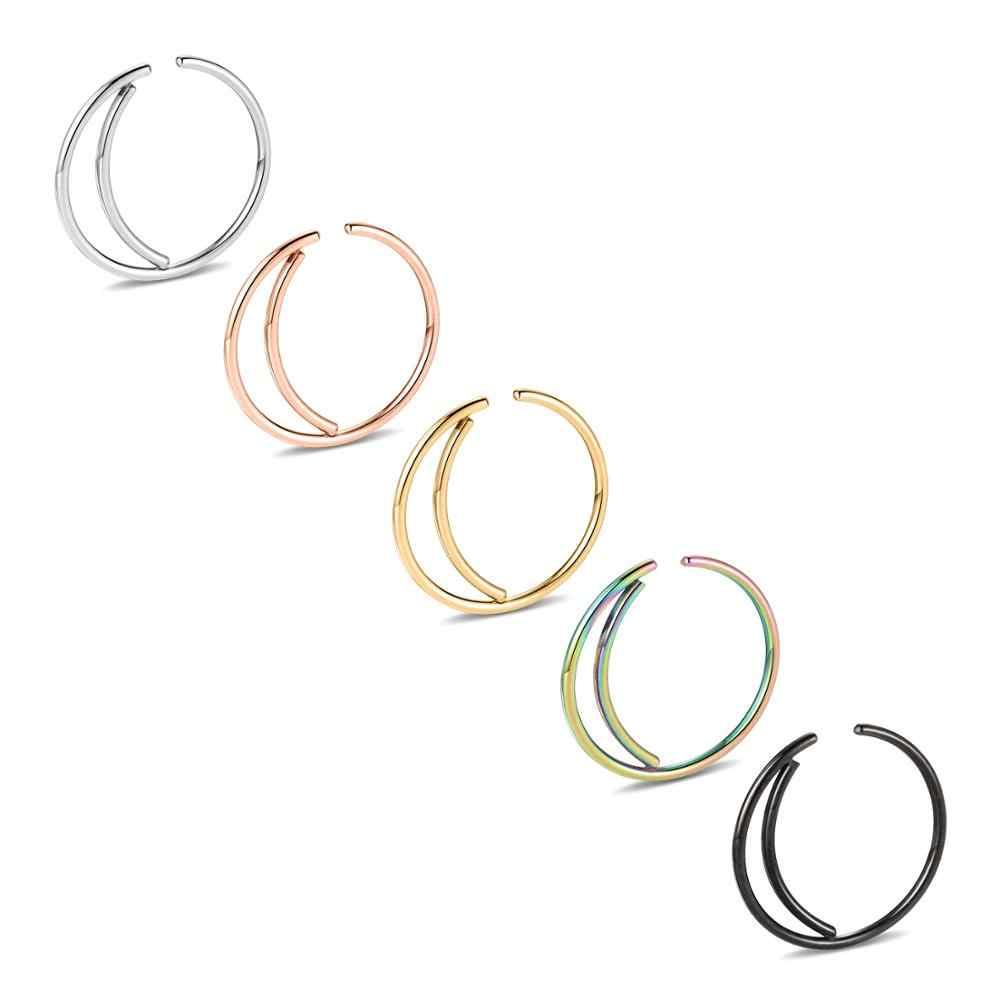 20G ירח האף טבעת חישוק כירורגי פלדת סהר האף טבעת Boho צמוד כפול מעדן מחץ פירסינג