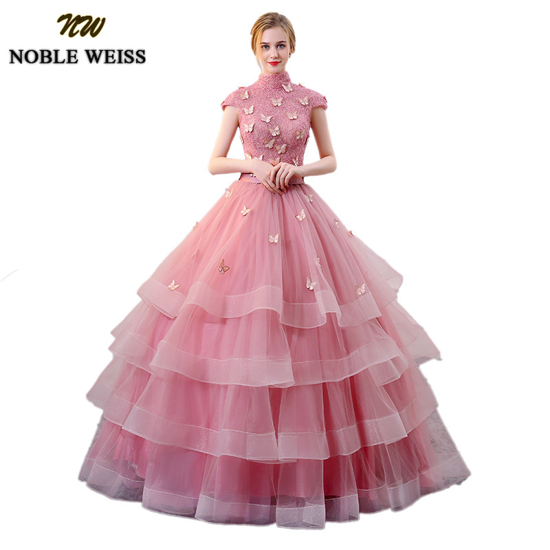 NOBLE WEISS Vintage High Neck Quinceanera Dresses 2019 Dust Pink Sweet 16 Dress With Charming Butterfly