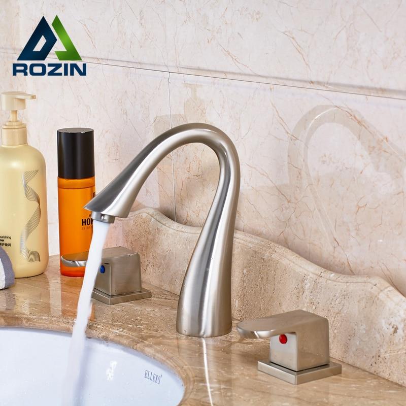 New Arrive Deck Mounted Widespread Bath Tub Sink Faucet Dual Handle Bathroom Sink Basin Mixer Taps